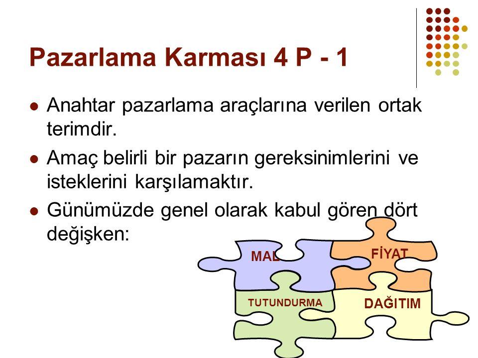 Pazarlama Karması 4 P - 1 Anahtar pazarlama araçlarına verilen ortak terimdir.