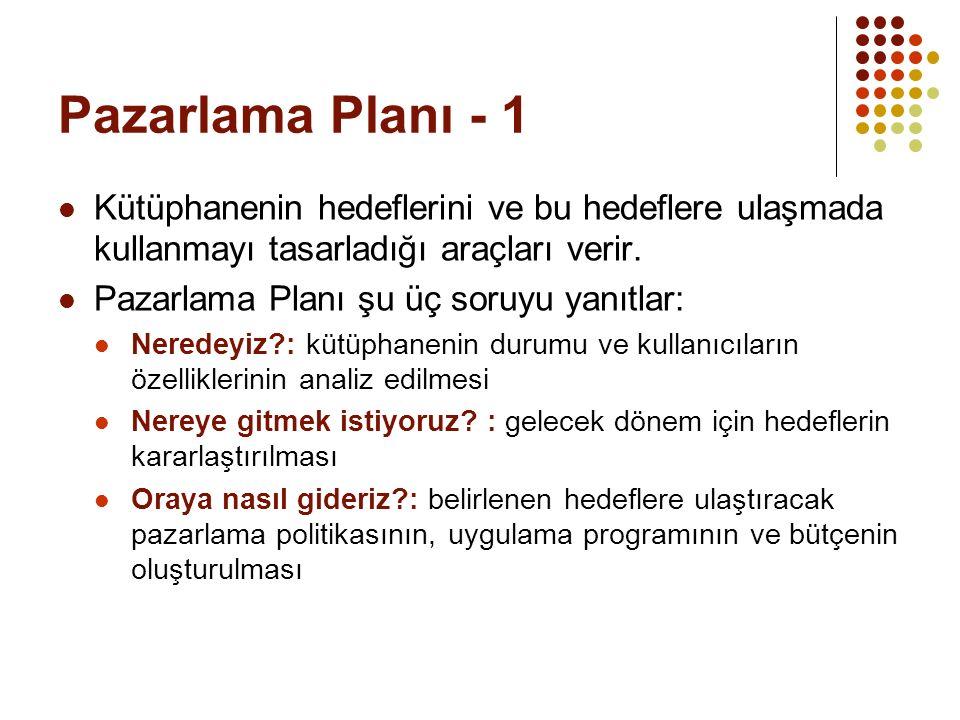 Pazarlama Planı - 1 Kütüphanenin hedeflerini ve bu hedeflere ulaşmada kullanmayı tasarladığı araçları verir.