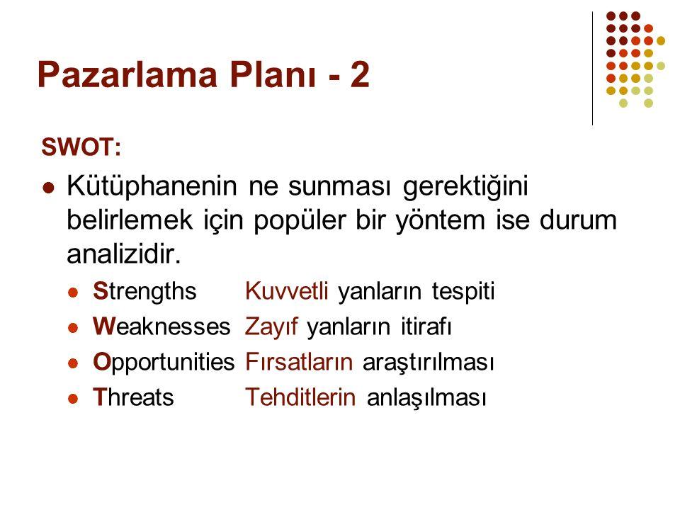 Pazarlama Planı - 2 SWOT: Kütüphanenin ne sunması gerektiğini belirlemek için popüler bir yöntem ise durum analizidir.
