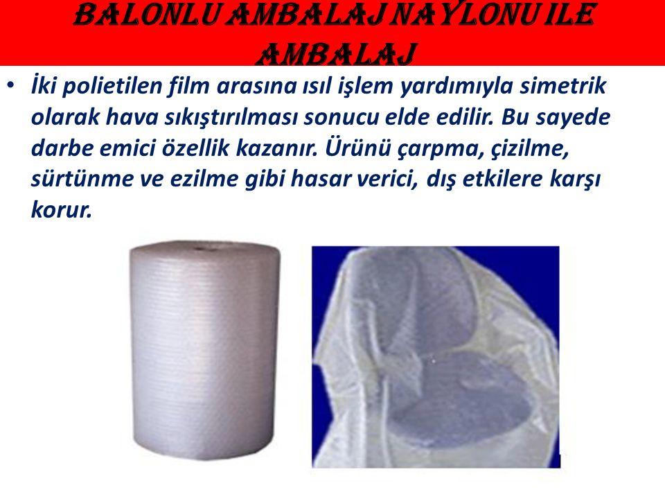 Balonlu Ambalaj Naylonu ile Ambalaj İki polietilen film arasına ısıl işlem yardımıyla simetrik olarak hava sıkıştırılması sonucu elde edilir.