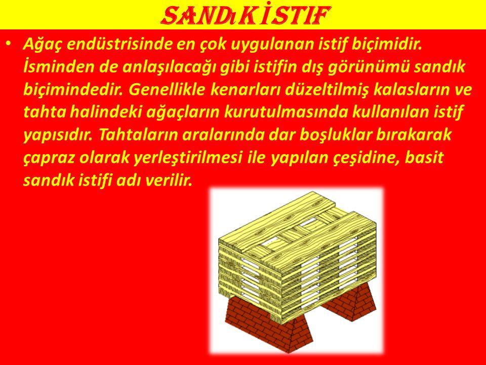 Sand ı k İ stif Ağaç endüstrisinde en çok uygulanan istif biçimidir.