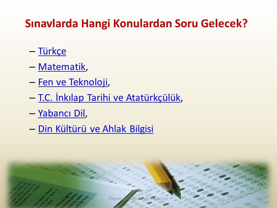 – Türkçe Türkçe – Matematik, Matematik – Fen ve Teknoloji, Fen ve Teknoloji – T.C.