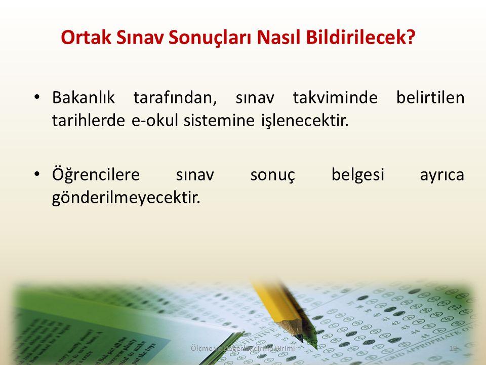Bakanlık tarafından, sınav takviminde belirtilen tarihlerde e-okul sistemine işlenecektir.