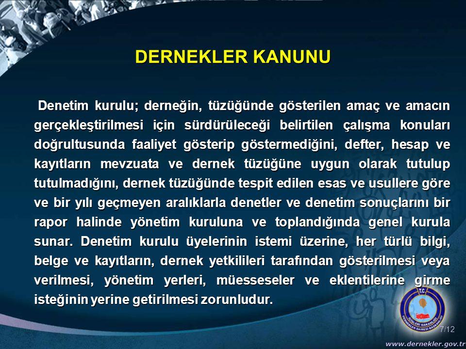 7/12 www.dernekler.gov.tr DERNEKLER KANUNU Denetim kurulu; derneğin, tüzüğünde gösterilen amaç ve amacın gerçekleştirilmesi için sürdürüleceği belirti