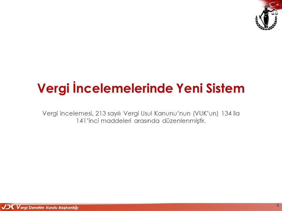 Vergi incelemesi, 213 sayılı Vergi Usul Kanunu'nun (VUK'un) 134 ila 141'inci maddeleri arasında düzenlenmiştir.