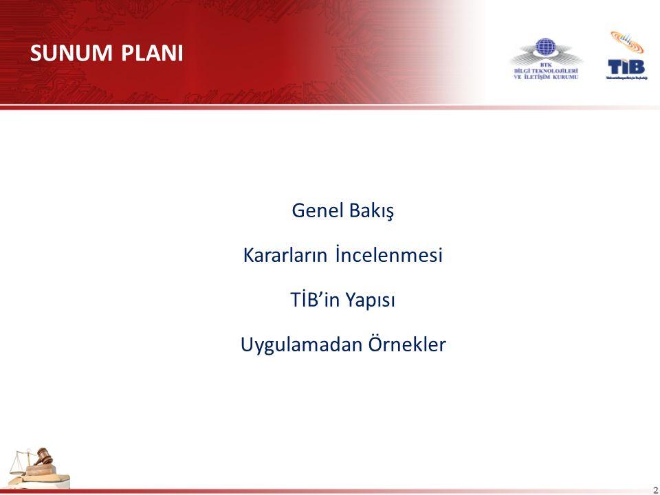 2 Genel Bakış Kararların İncelenmesi TİB'in Yapısı Uygulamadan Örnekler SUNUM PLANI
