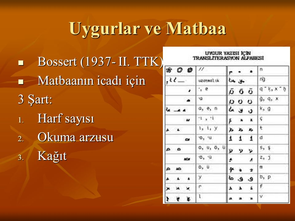 Uygurlar ve Matbaa Bossert (1937- II. TTK) Bossert (1937- II. TTK) Matbaanın icadı için Matbaanın icadı için 3 Şart: 1. Harf sayısı 2. Okuma arzusu 3.