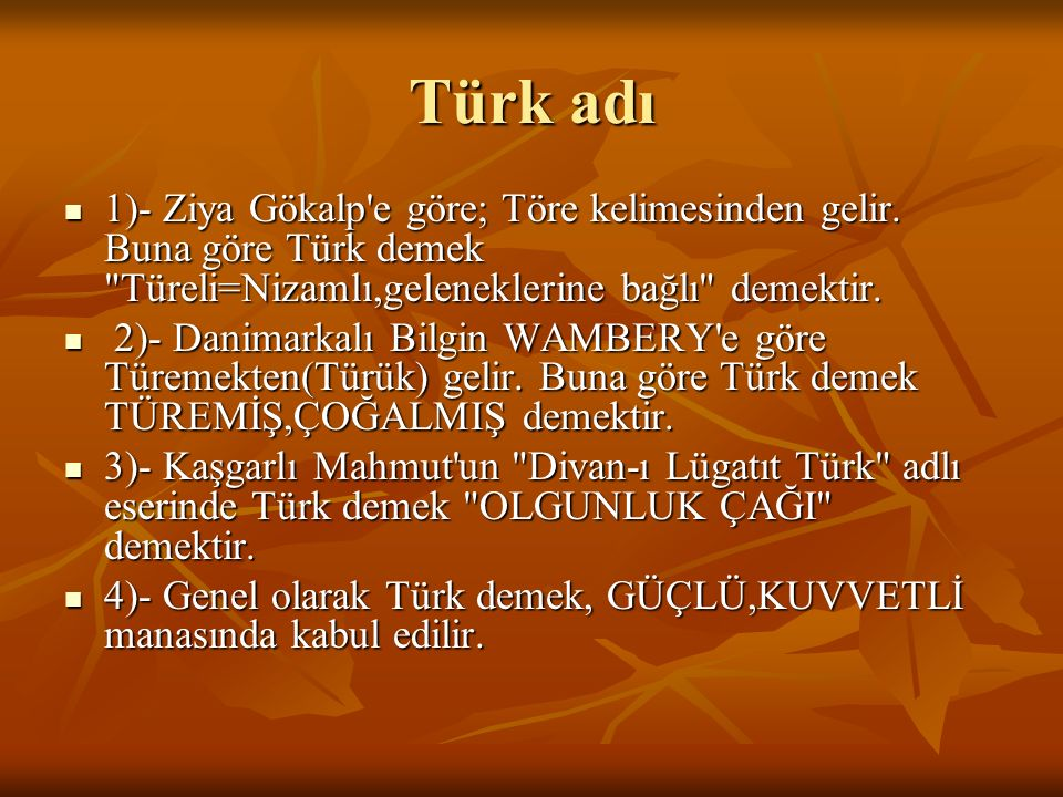 Türk adı 1)- Ziya Gökalp'e göre; Töre kelimesinden gelir. Buna göre Türk demek