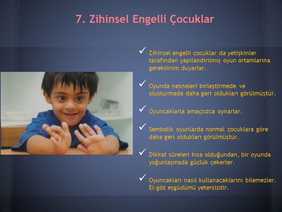 Zihinsel engelli çocuklar da yetişkinler tarafından yapılandırılmış oyun ortamlarına gereksinim duyarlar.