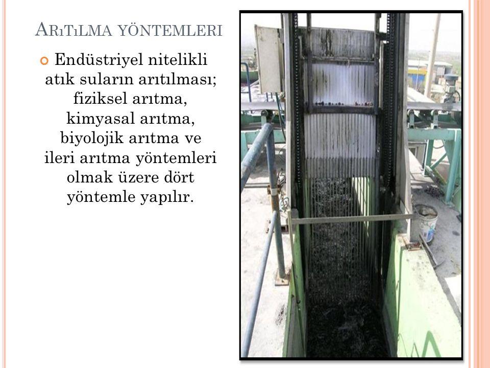 A RıTıLMA YÖNTEMLERI Endüstriyel nitelikli atık suların arıtılması; fiziksel arıtma, kimyasal arıtma, biyolojik arıtma ve ileri arıtma yöntemleri olmak üzere dört yöntemle yapılır.