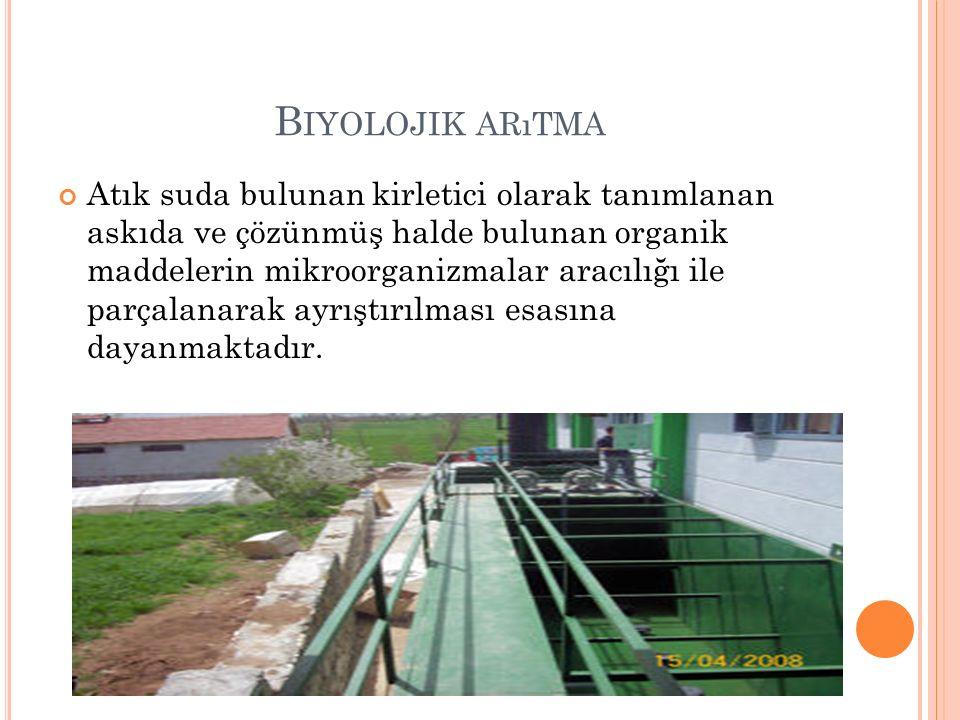 B IYOLOJIK ARıTMA Atık suda bulunan kirletici olarak tanımlanan askıda ve çözünmüş halde bulunan organik maddelerin mikroorganizmalar aracılığı ile parçalanarak ayrıştırılması esasına dayanmaktadır.