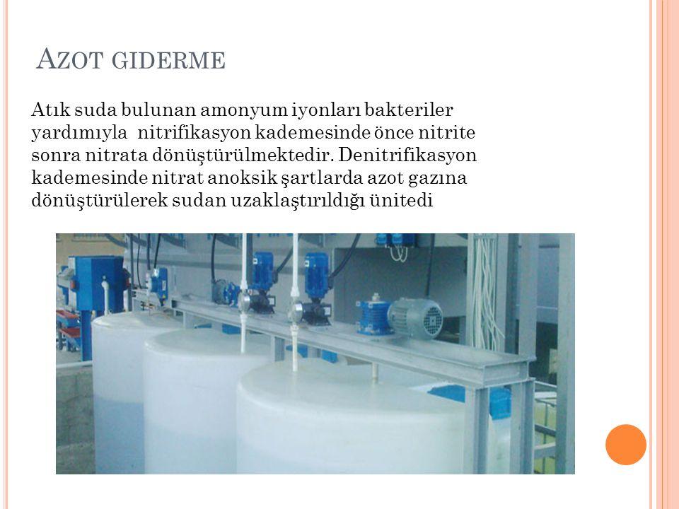 A ZOT GIDERME Atık suda bulunan amonyum iyonları bakteriler yardımıyla nitrifikasyon kademesinde önce nitrite sonra nitrata dönüştürülmektedir.