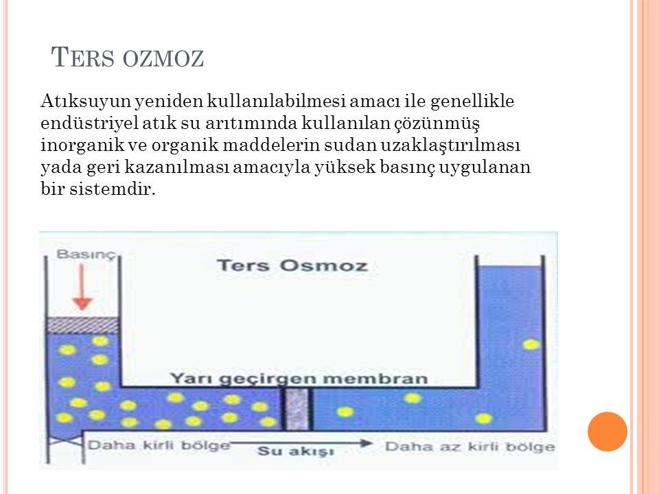 T ERS OZMOZ Atıksuyun yeniden kullanılabilmesi amacı ile genellikle endüstriyel atık su arıtımında kullanılan çözünmüş inorganik ve organik maddelerin sudan uzaklaştırılması yada geri kazanılması amacıyla yüksek basınç uygulanan bir sistemdir.