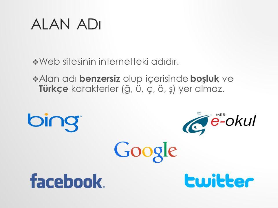 ALAN ADı  Web sitesinin internetteki adıdır.