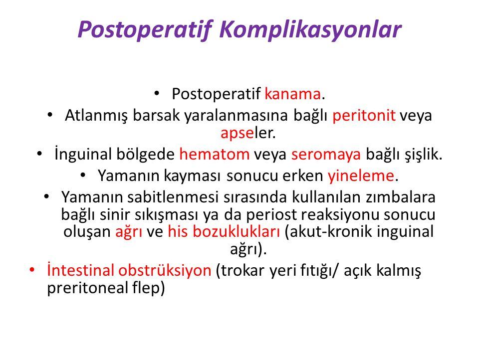 Postoperatif Komplikasyonlar Postoperatif kanama. Atlanmış barsak yaralanmasına bağlı peritonit veya apseler. İnguinal bölgede hematom veya seromaya b
