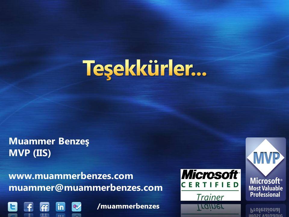 Muammer Benzeş MVP (IIS) www.muammerbenzes.com muammer@muammerbenzes.com /muammerbenzes