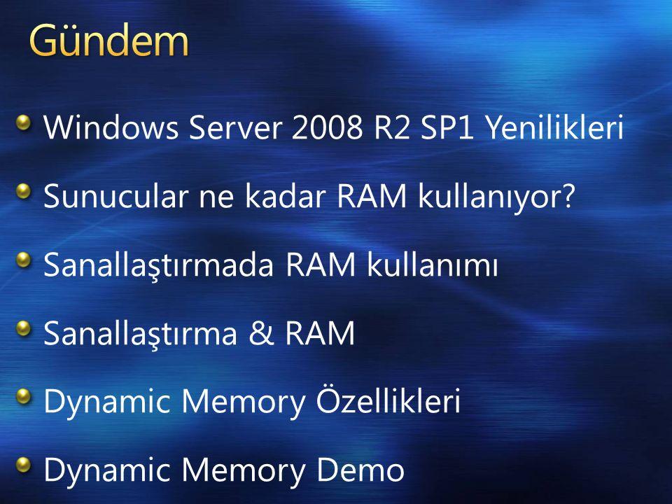 Windows Server 2008 R2 SP1 Yenilikleri Sunucular ne kadar RAM kullanıyor.