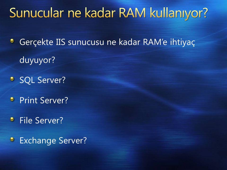 Gerçekte IIS sunucusu ne kadar RAM'e ihtiyaç duyuyor.