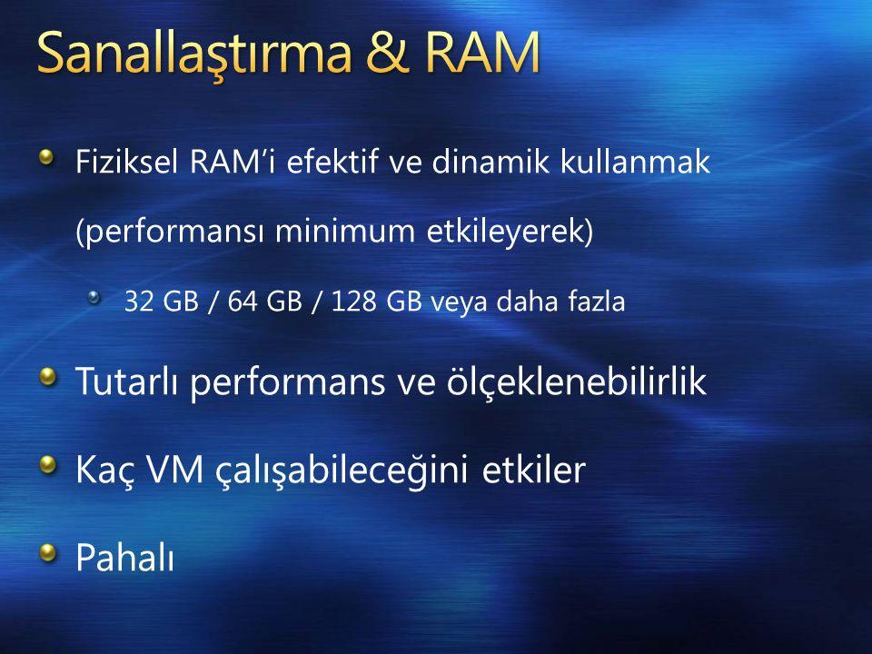 Fiziksel RAM'i efektif ve dinamik kullanmak (performansı minimum etkileyerek) 32 GB / 64 GB / 128 GB veya daha fazla Tutarlı performans ve ölçeklenebilirlik Kaç VM çalışabileceğini etkiler Pahalı