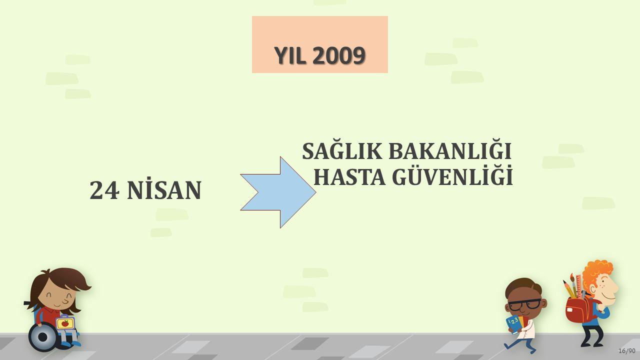 YIL 2009 24 NİSAN SAĞLIK BAKANLIĞI HASTA GÜVENLİĞİ 16/90