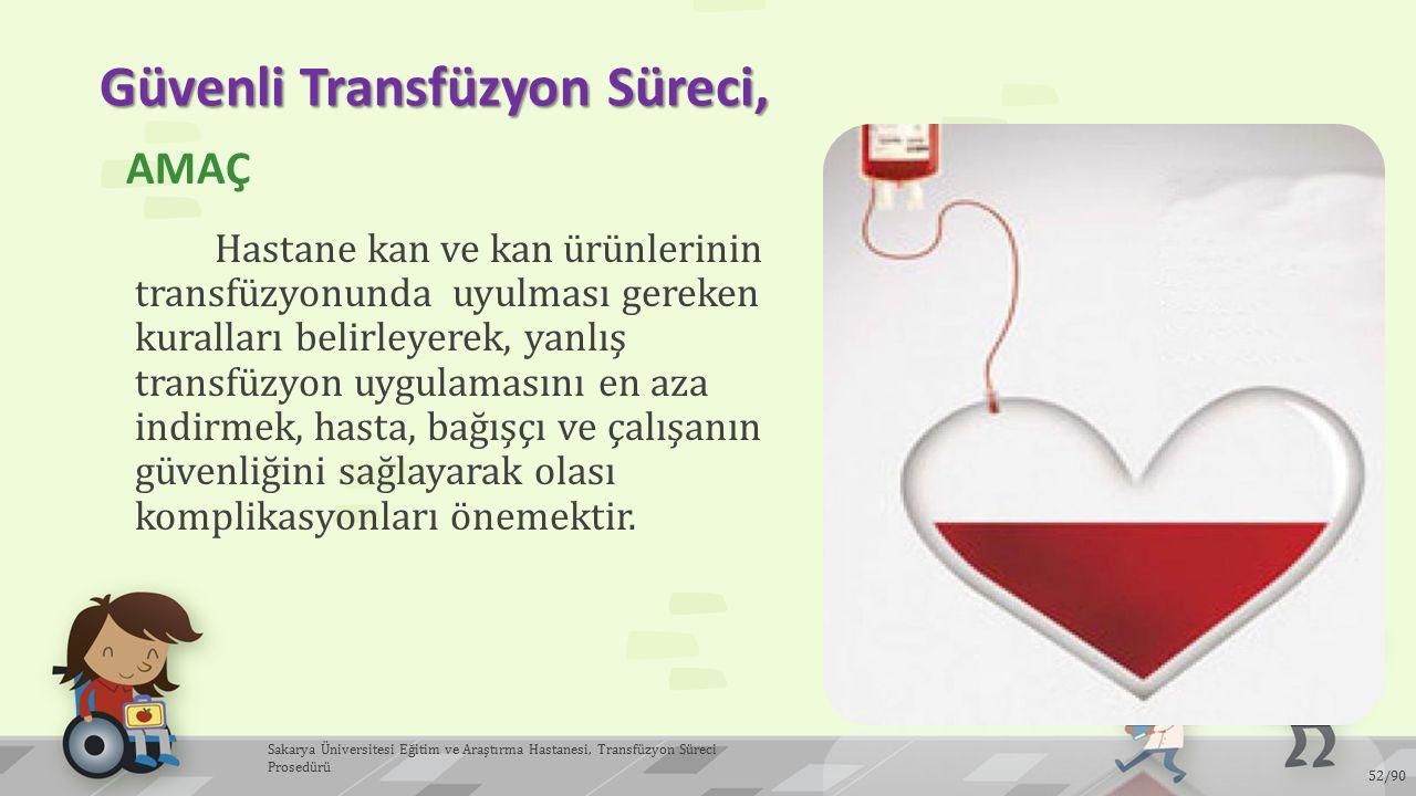 Güvenli Transfüzyon Süreci, AMAÇ Hastane kan ve kan ürünlerinin transfüzyonunda uyulması gereken kuralları belirleyerek, yanlış transfüzyon uygulaması