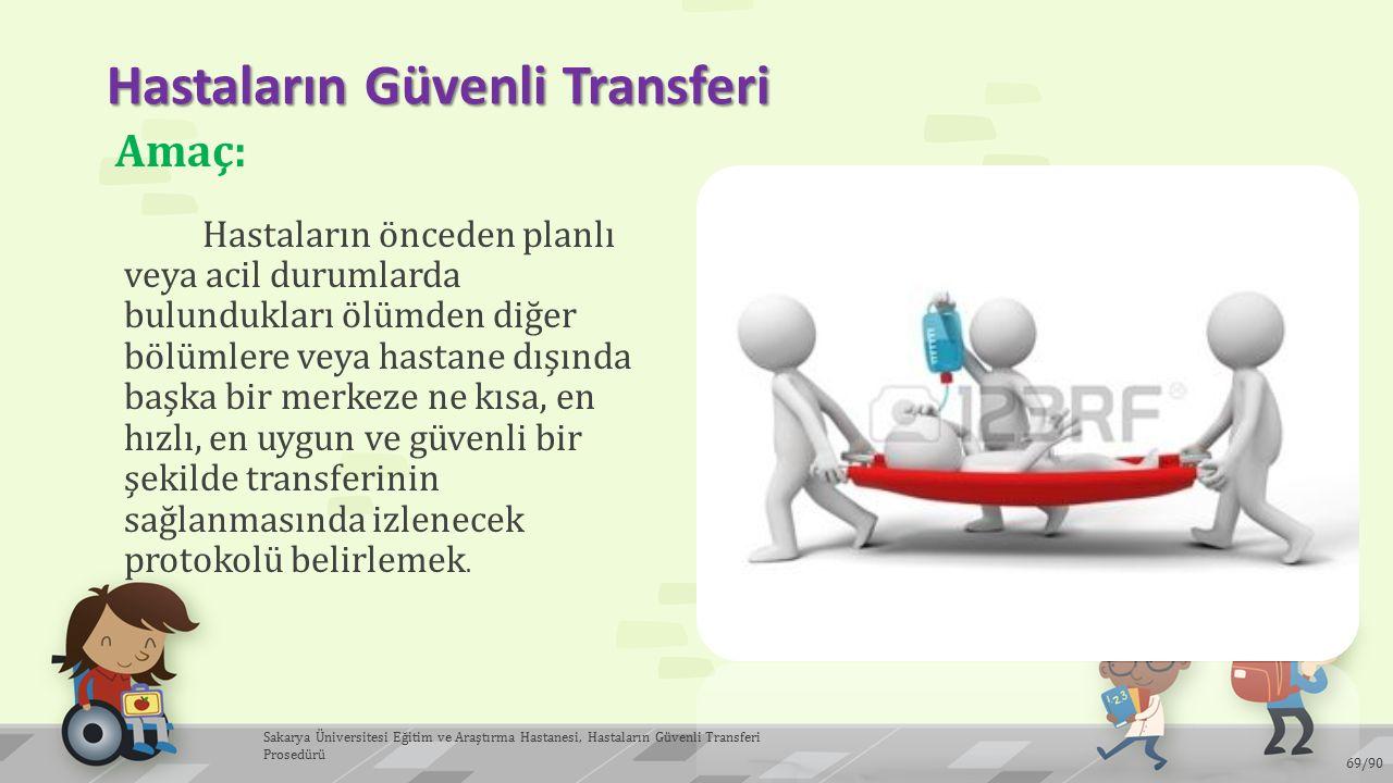 Hastaların Güvenli Transferi Hastaların önceden planlı veya acil durumlarda bulundukları ölümden diğer bölümlere veya hastane dışında başka bir merkez