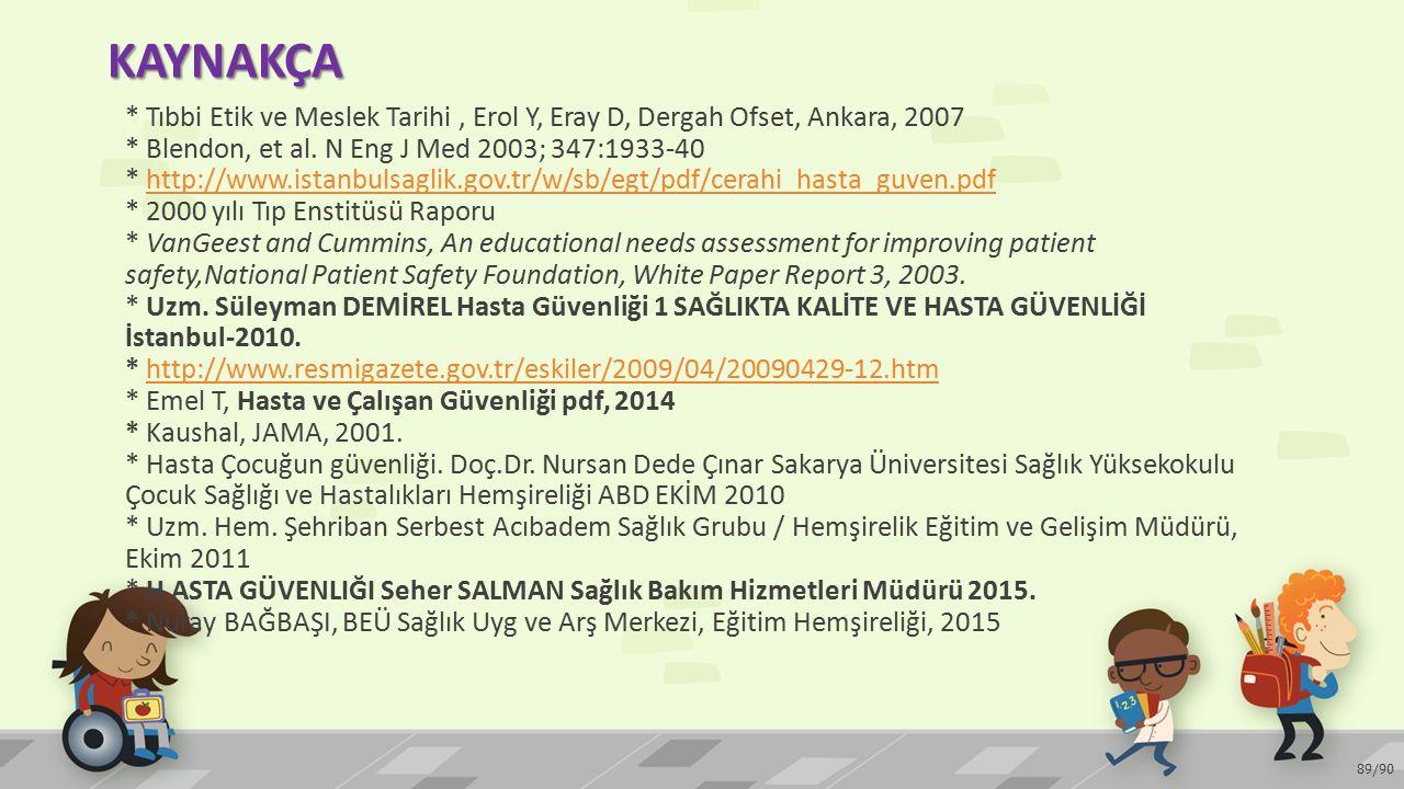 KAYNAKÇA 89/90 * Tıbbi Etik ve Meslek Tarihi, Erol Y, Eray D, Dergah Ofset, Ankara, 2007 * Blendon, et al. N Eng J Med 2003; 347:1933-40 * http://www.