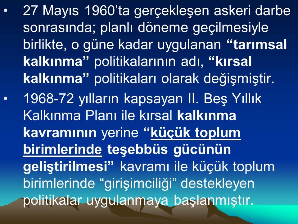 27 Mayıs 1960'ta gerçekleşen askeri darbe sonrasında; planlı döneme geçilmesiyle birlikte, o güne kadar uygulanan tarımsal kalkınma politikalarının adı, kırsal kalkınma politikaları olarak değişmiştir.