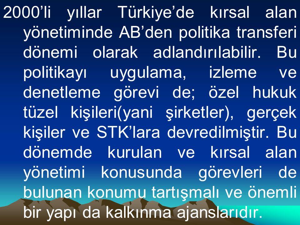 2000'li yıllar Türkiye'de kırsal alan yönetiminde AB'den politika transferi dönemi olarak adlandırılabilir.