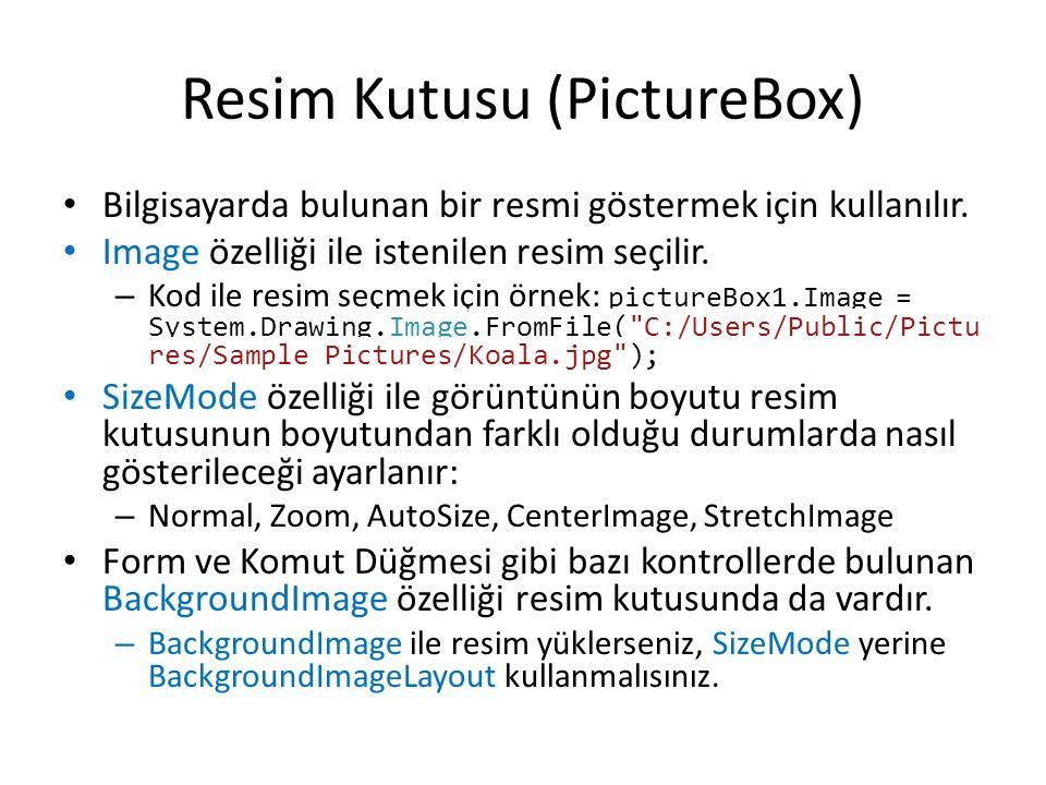 Resim Kutusu (PictureBox) Bilgisayarda bulunan bir resmi göstermek için kullanılır.