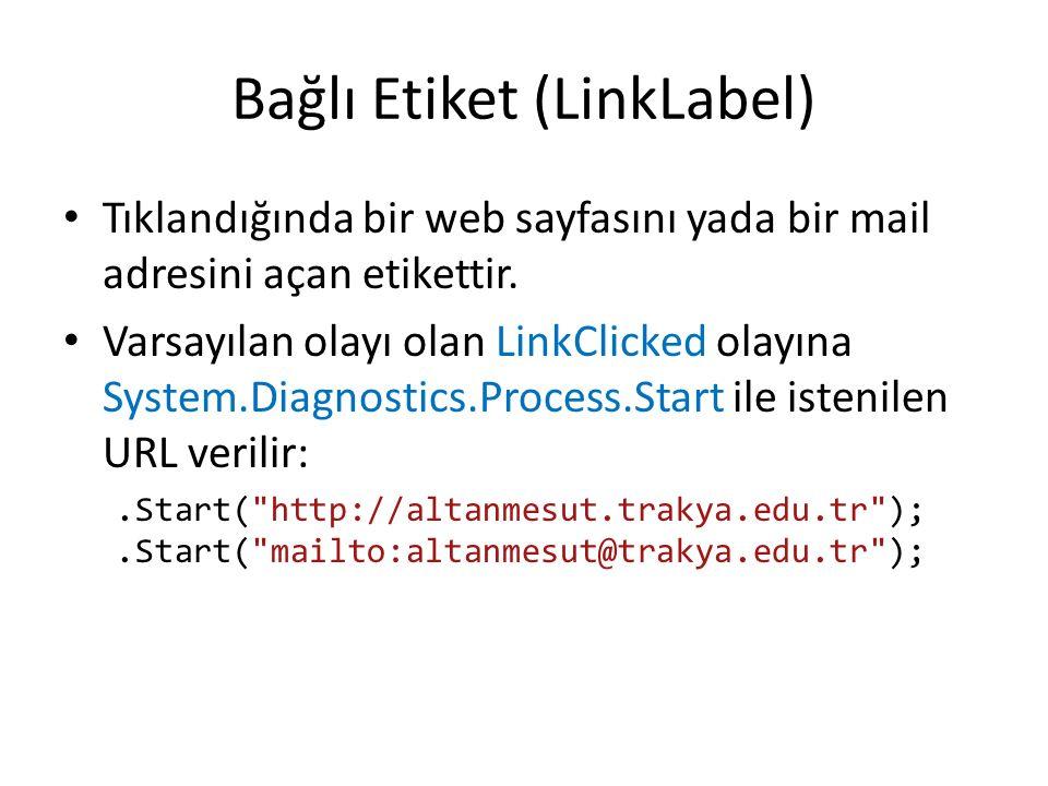 Bağlı Etiket (LinkLabel) Tıklandığında bir web sayfasını yada bir mail adresini açan etikettir.