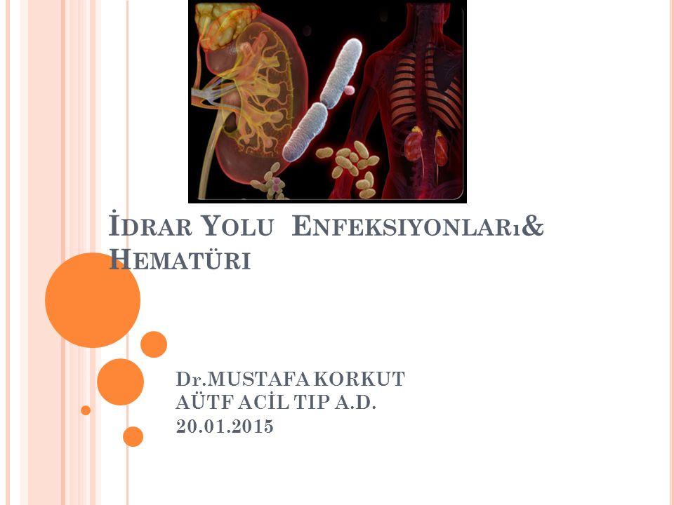 İ DRAR Y OLU E NFEKSIYONLARı & H EMATÜRI Dr.MUSTAFA KORKUT AÜTF ACİL TIP A.D. 20.01.2015