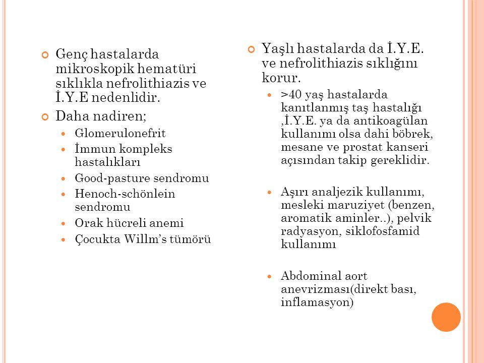 Genç hastalarda mikroskopik hematüri sıklıkla nefrolithiazis ve İ.Y.E nedenlidir.