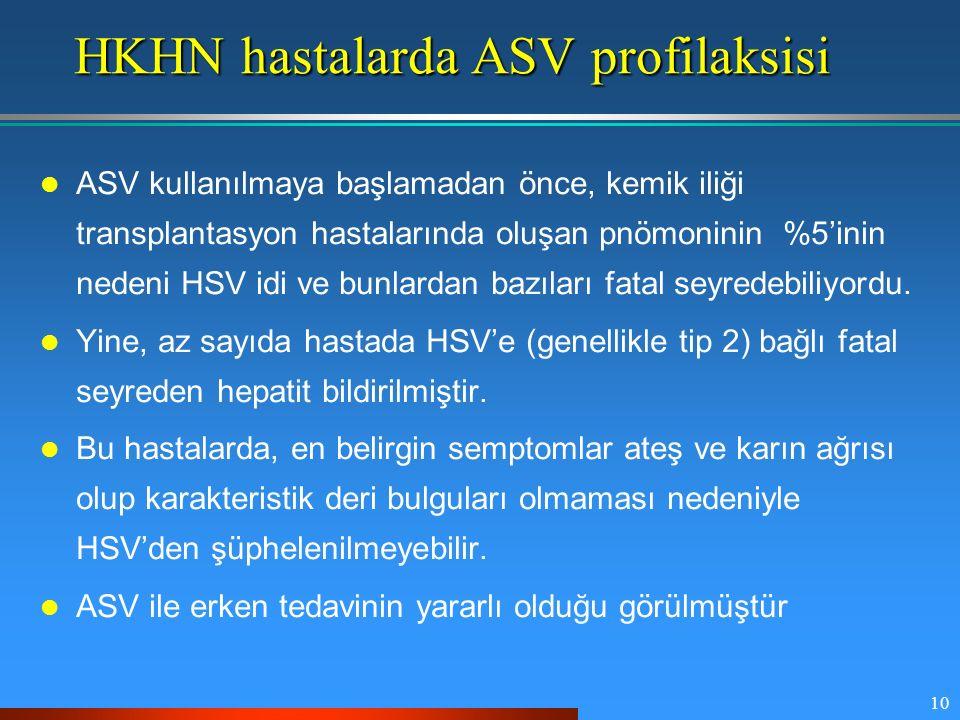 10 HKHN hastalarda ASV profilaksisi ASV kullanılmaya başlamadan önce, kemik iliği transplantasyon hastalarında oluşan pnömoninin %5'inin nedeni HSV id