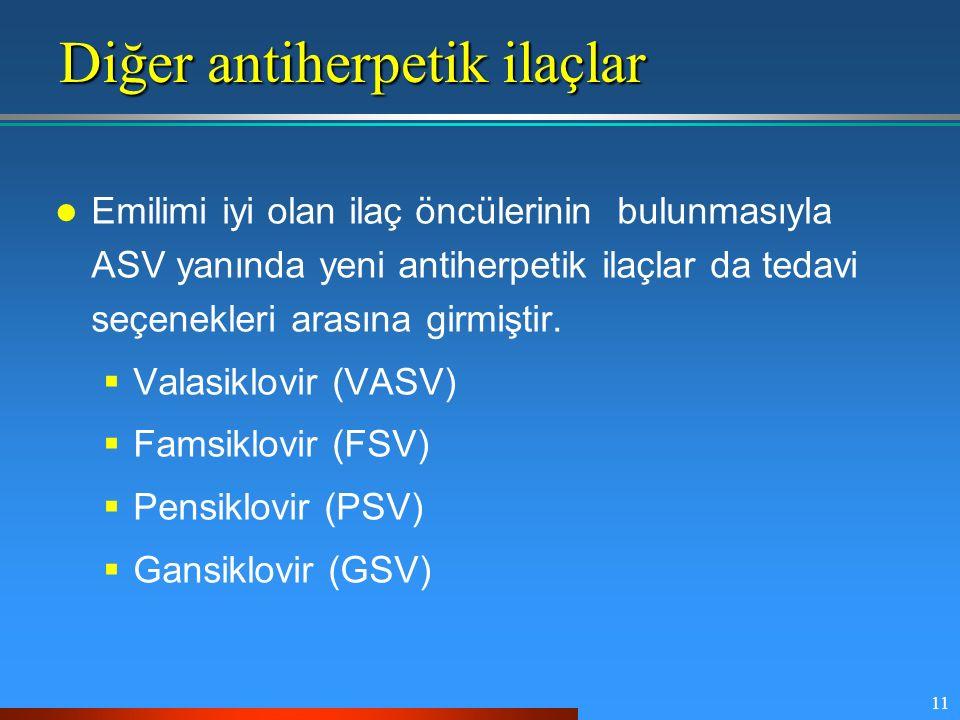 11 Diğer antiherpetik ilaçlar Emilimi iyi olan ilaç öncülerinin bulunmasıyla ASV yanında yeni antiherpetik ilaçlar da tedavi seçenekleri arasına girmi