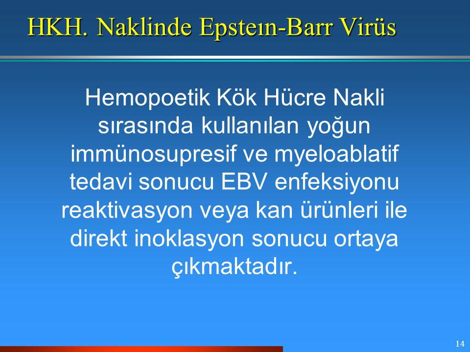 14 HKH. Naklinde Epsteın-Barr Virüs Hemopoetik Kök Hücre Nakli sırasında kullanılan yoğun immünosupresif ve myeloablatif tedavi sonucu EBV enfeksiyonu