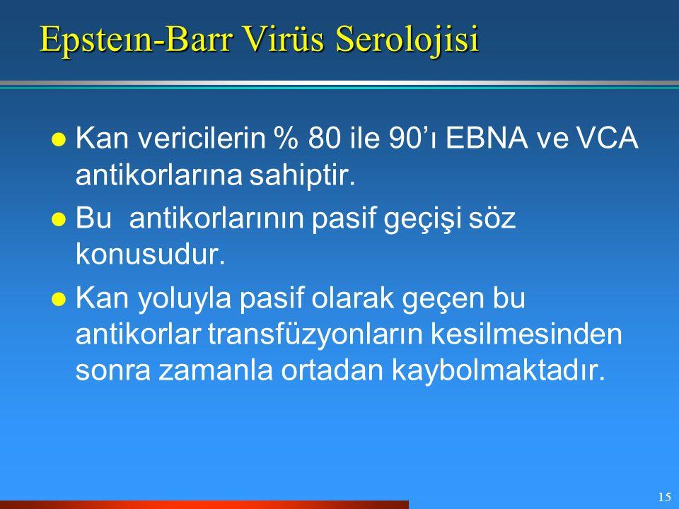 15 Epsteın-Barr Virüs Serolojisi Kan vericilerin % 80 ile 90'ı EBNA ve VCA antikorlarına sahiptir. Bu antikorlarının pasif geçişi söz konusudur. Kan y