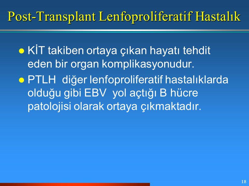 18 Post-Transplant Lenfoproliferatif Hastalık KİT takiben ortaya çıkan hayatı tehdit eden bir organ komplikasyonudur. PTLH diğer lenfoproliferatif has