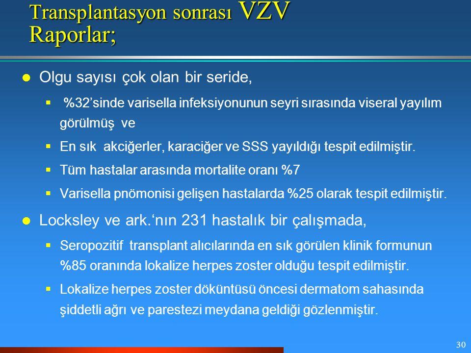 30 Transplantasyon sonrası VZV Raporlar; Olgu sayısı çok olan bir seride,  %32'sinde varisella infeksiyonunun seyri sırasında viseral yayılım görülmü