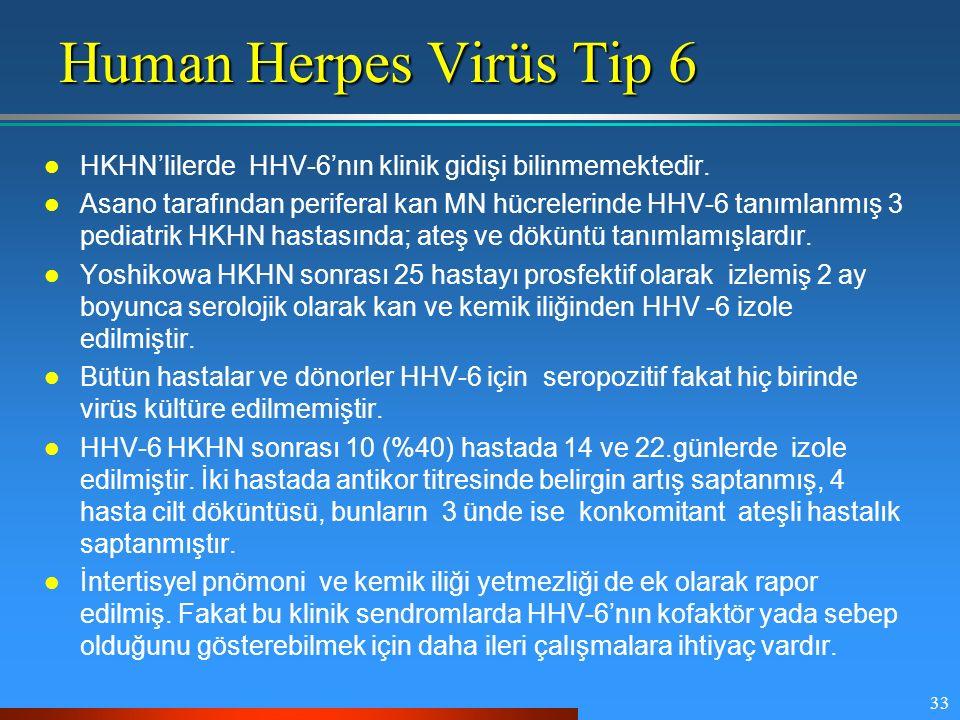 33 Human Herpes Virüs Tip 6 HKHN'lilerde HHV-6'nın klinik gidişi bilinmemektedir. Asano tarafından periferal kan MN hücrelerinde HHV-6 tanımlanmış 3 p