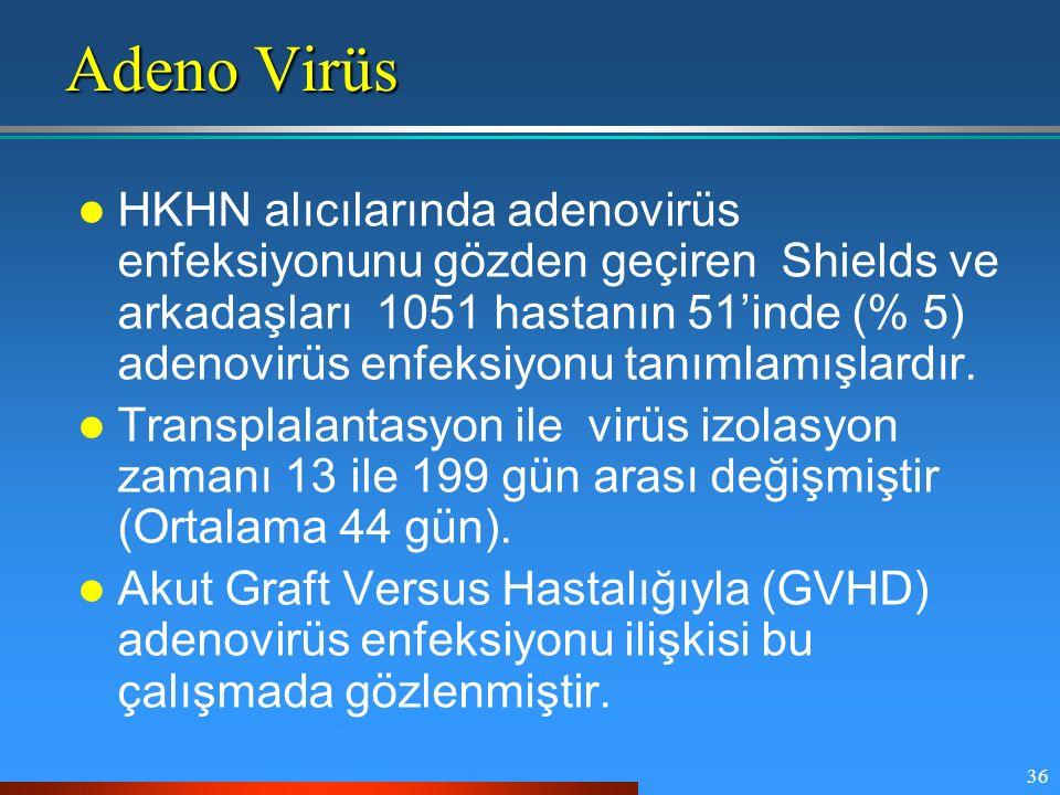 36 Adeno Virüs HKHN alıcılarında adenovirüs enfeksiyonunu gözden geçiren Shields ve arkadaşları 1051 hastanın 51'inde (% 5) adenovirüs enfeksiyonu tan