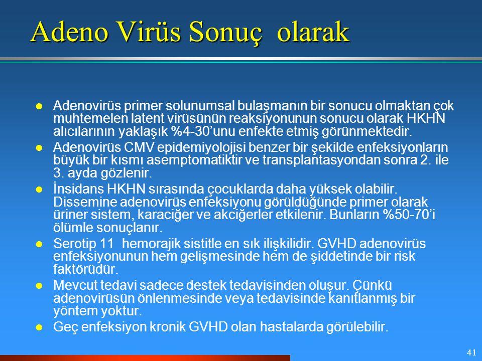 41 Adeno Virüs Sonuç olarak Adenovirüs primer solunumsal bulaşmanın bir sonucu olmaktan çok muhtemelen latent virüsünün reaksiyonunun sonucu olarak HK