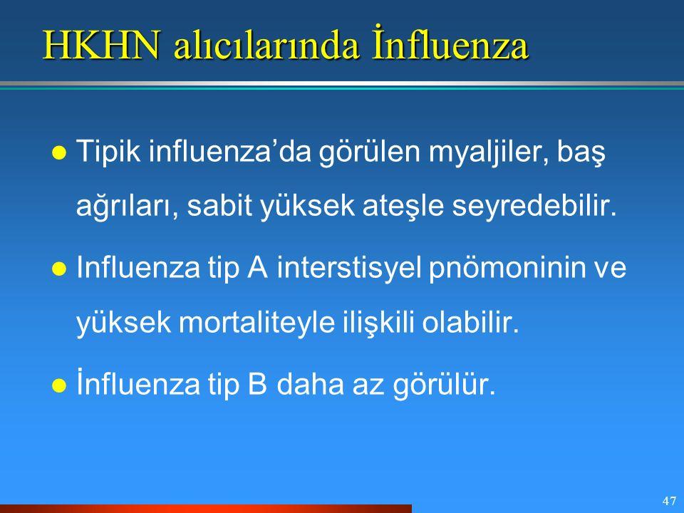 47 HKHN alıcılarında İnfluenza Tipik influenza'da görülen myaljiler, baş ağrıları, sabit yüksek ateşle seyredebilir. Influenza tip A interstisyel pnöm