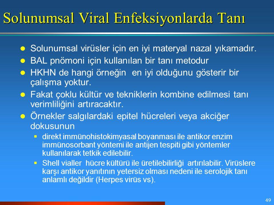 49 Solunumsal Viral Enfeksiyonlarda Tanı Solunumsal virüsler için en iyi materyal nazal yıkamadır. BAL pnömoni için kullanılan bir tanı metodur HKHN d