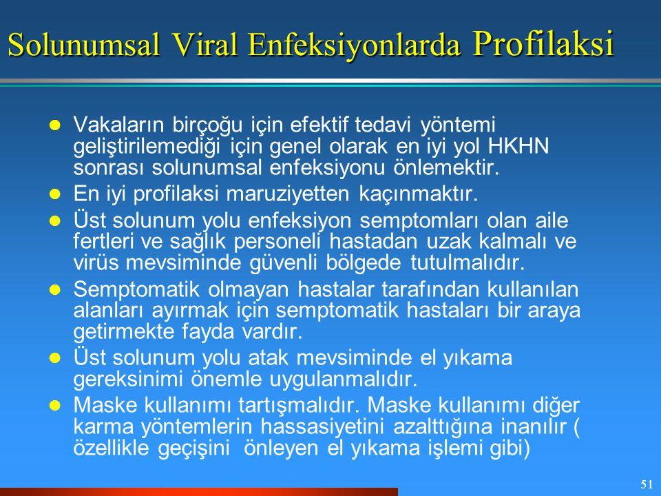 51 Solunumsal Viral Enfeksiyonlarda Profilaksi Vakaların birçoğu için efektif tedavi yöntemi geliştirilemediği için genel olarak en iyi yol HKHN sonra