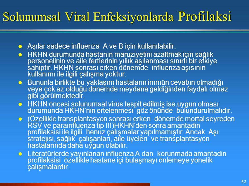 52 Solunumsal Viral Enfeksiyonlarda Profilaksi Aşılar sadece influenza A ve B için kullanılabilir. HKHN durumunda hastanın maruziyetini azaltmak için