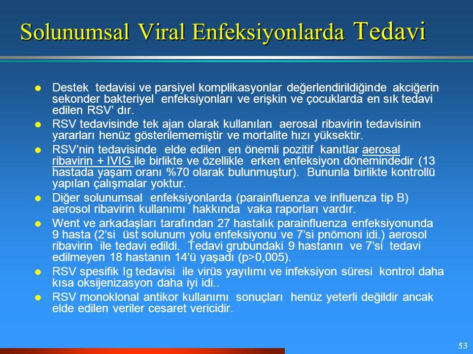 53 Solunumsal Viral Enfeksiyonlarda Tedavi Destek tedavisi ve parsiyel komplikasyonlar değerlendirildiğinde akciğerin sekonder bakteriyel enfeksiyonla
