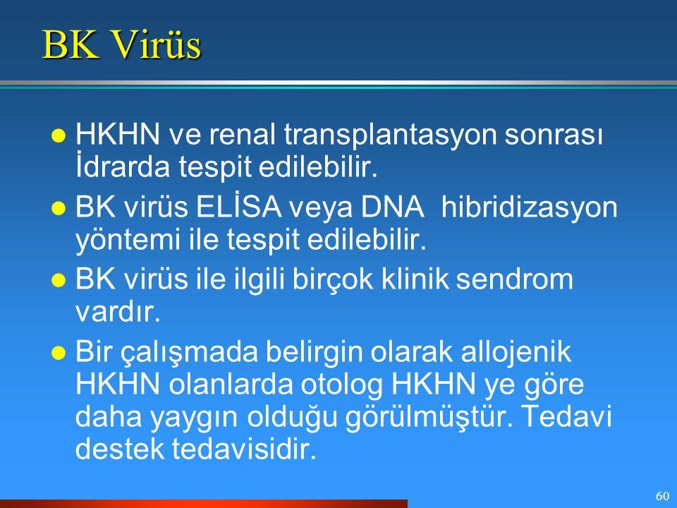 60 BK Virüs HKHN ve renal transplantasyon sonrası İdrarda tespit edilebilir. BK virüs ELİSA veya DNA hibridizasyon yöntemi ile tespit edilebilir. BK v