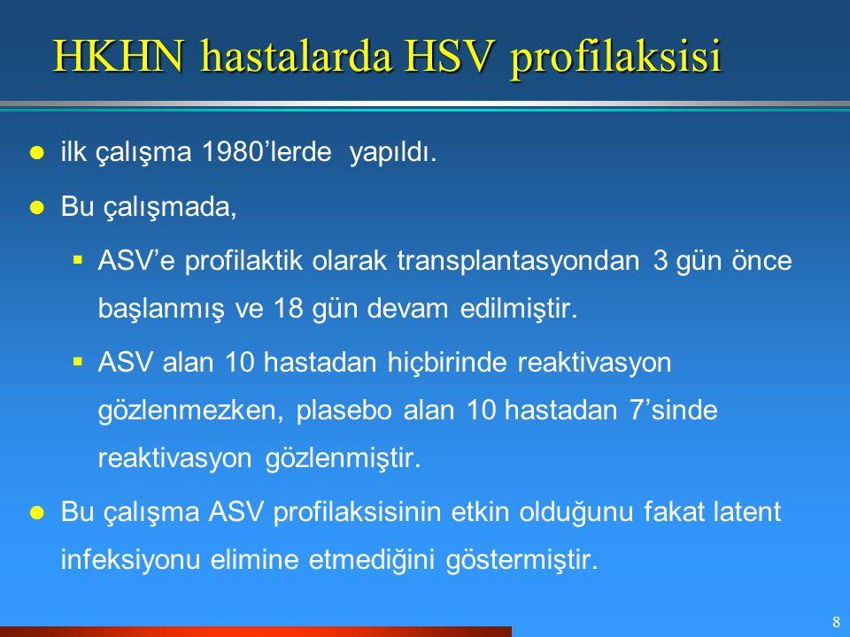 8 HKHN hastalarda HSV profilaksisi ilk çalışma 1980'lerde yapıldı. Bu çalışmada,  ASV'e profilaktik olarak transplantasyondan 3 gün önce başlanmış ve