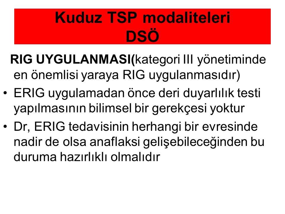 Kuduz TSP modaliteleri DSÖ RIG UYGULANMASI(kategori III yönetiminde en önemlisi yaraya RIG uygulanmasıdır) ERIG uygulamadan önce deri duyarlılık testi